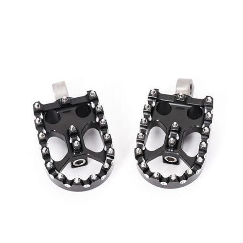 """Black Rotating Universal Custom Footpegs """"Stainless Teeth"""""""